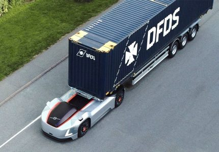 VOLVO TRUCKS BEFORE DRIVER OF SHIPPING CONTAINERS IN SWEDEN